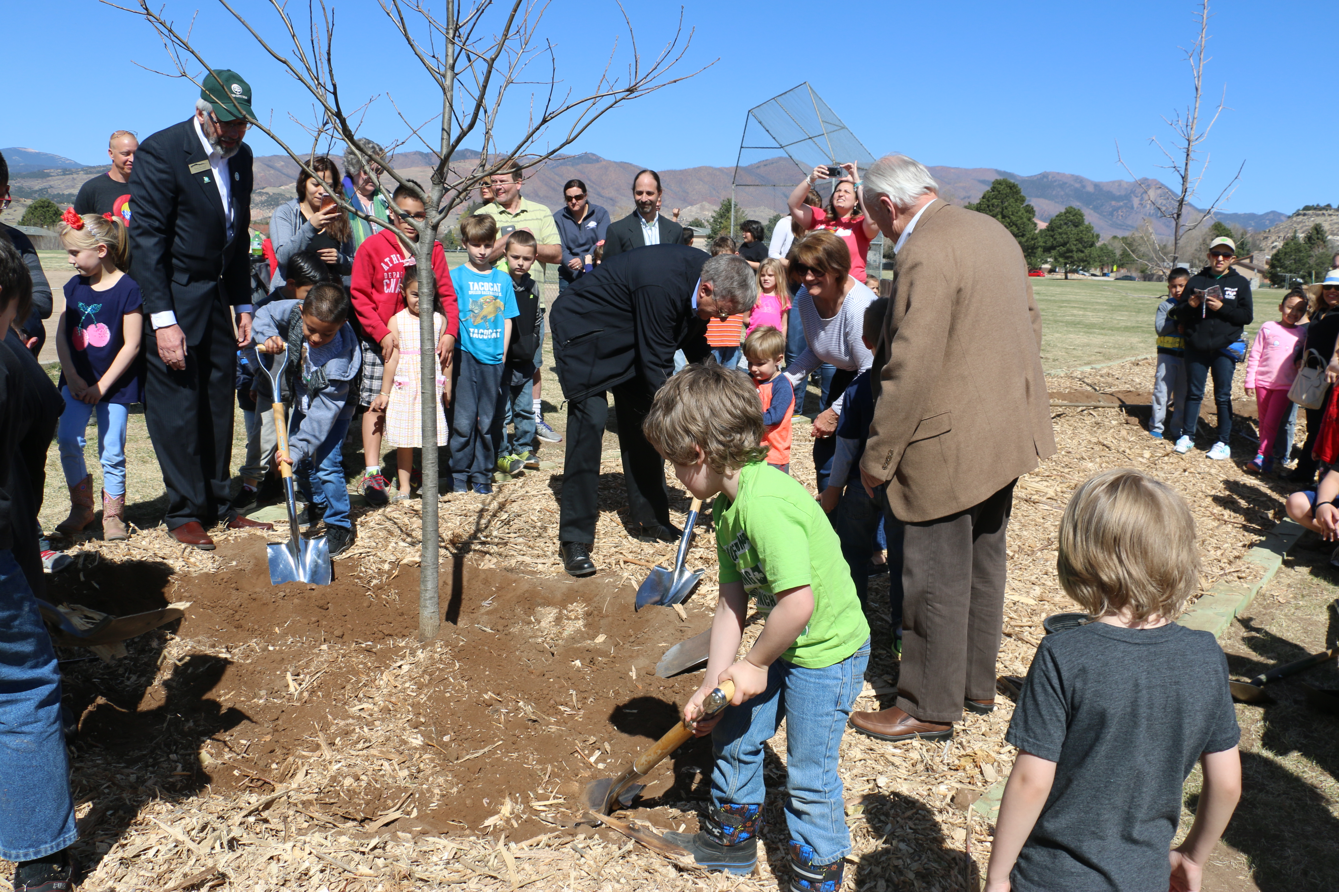 Kids and city councilmen planting a tree