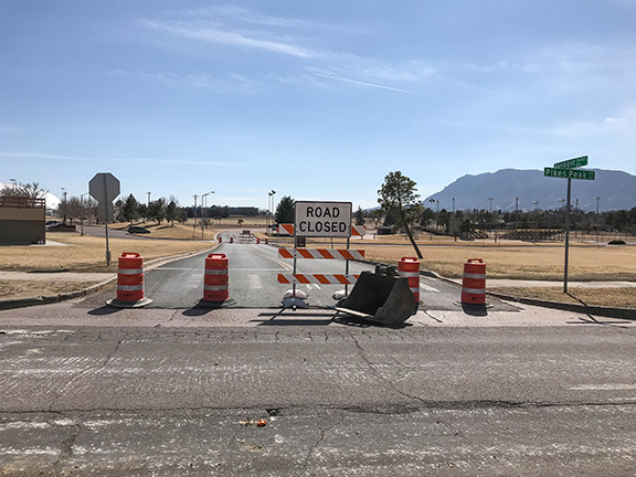 road closed sign at Memorial Park entrance
