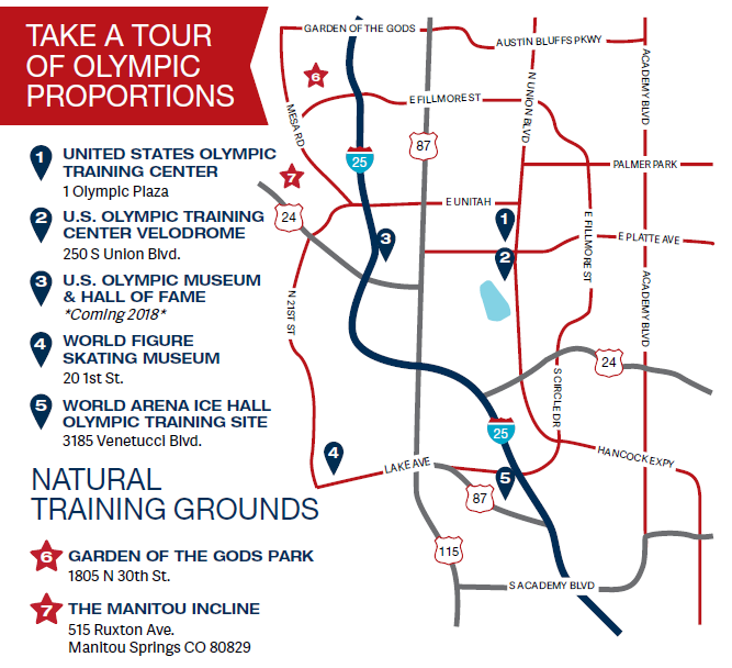 Map of Olympic training sites in Colorado Springs