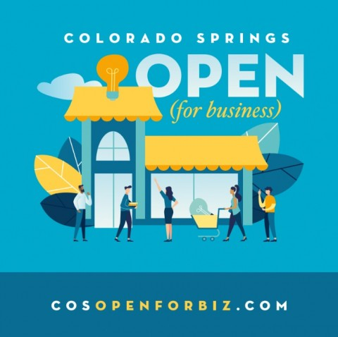 Logo for C O S open for biz website. Link goes to small business website.