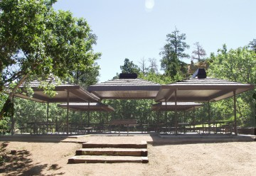 large picnic pavilion in wooded area