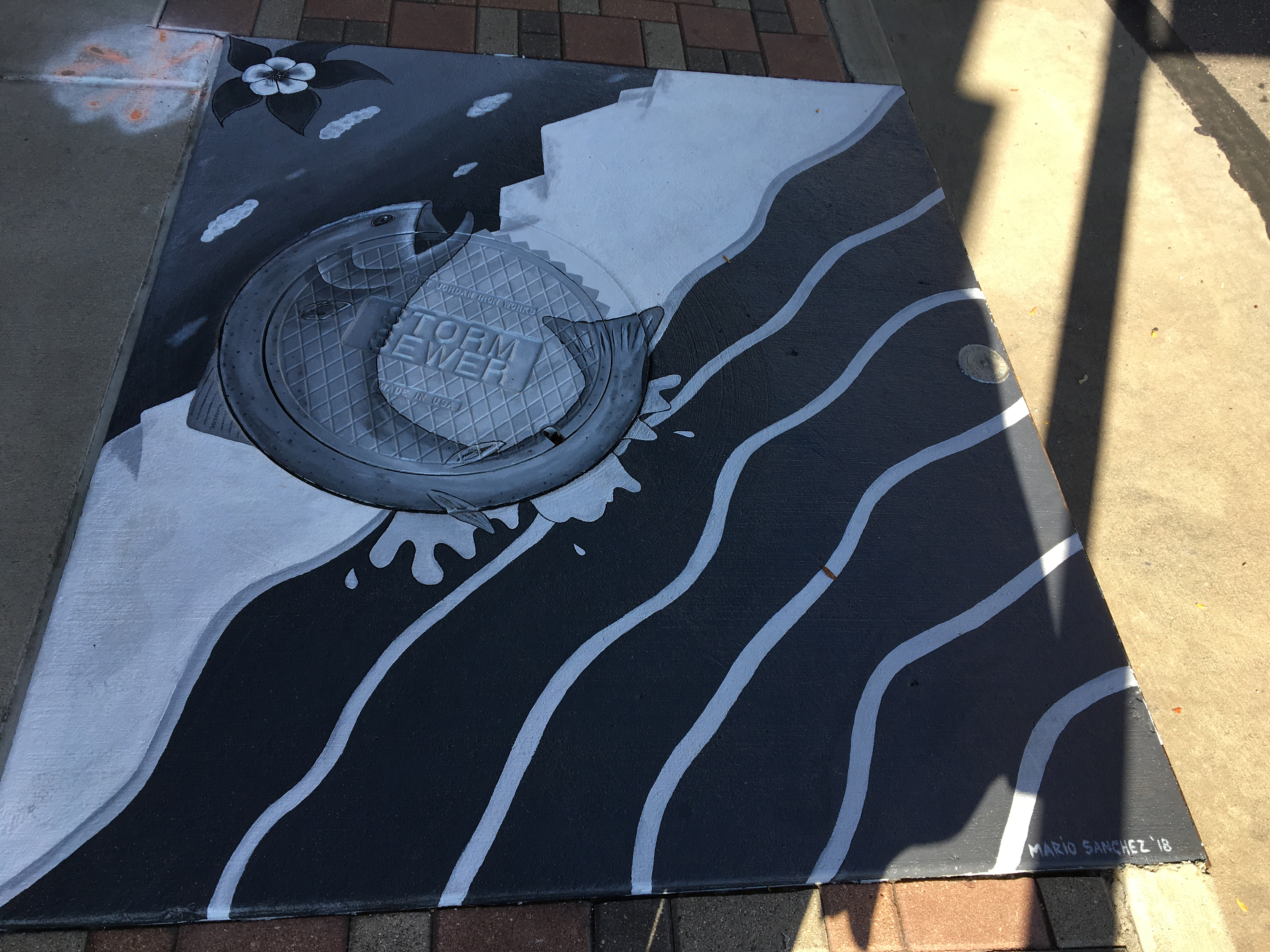 Painting over storm drain showing fish and water at end of drain