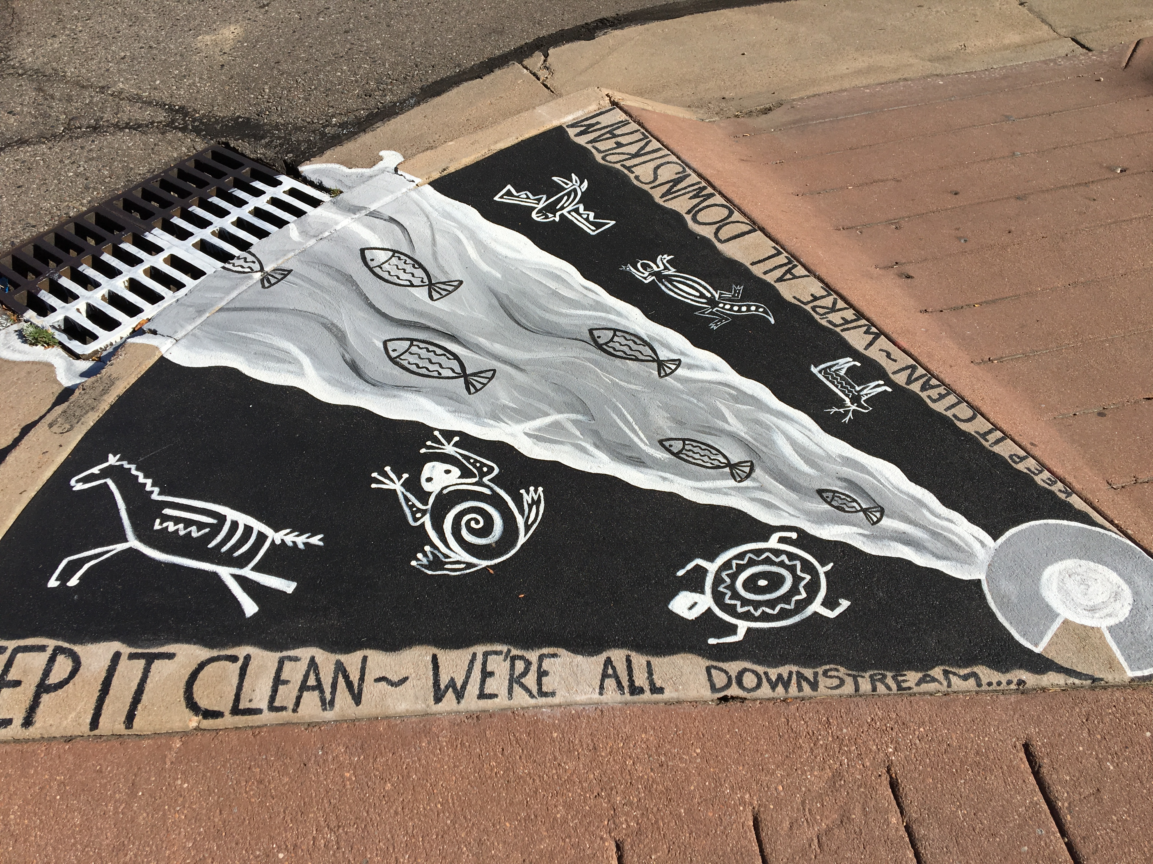 """painting showing wildlife and river at end of storm drain. titled """"keep it clean, we all live downstream"""""""