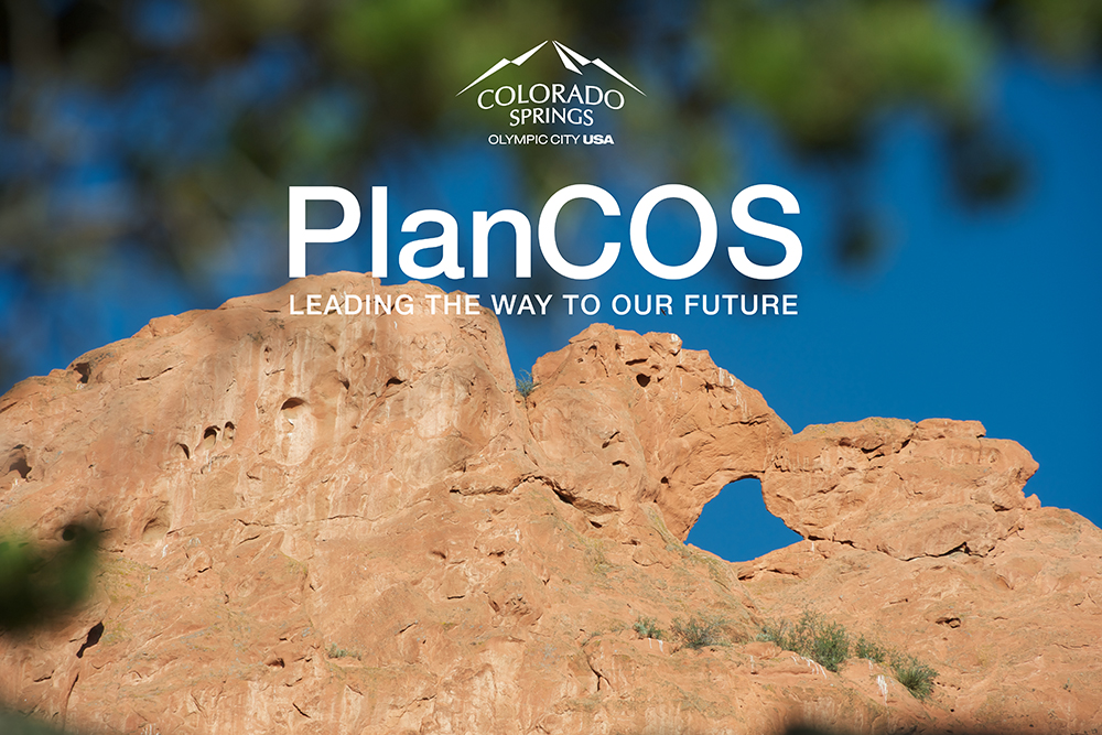 photo closeup of Kissing Camels rock formation in Garden of the Gods with PlanCOS logo superimposed over it