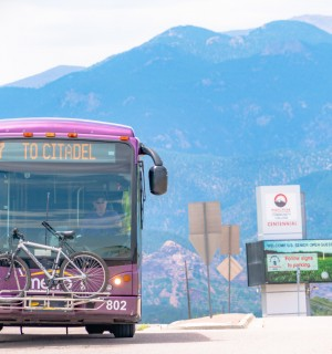 Photo of a mountain metro bus