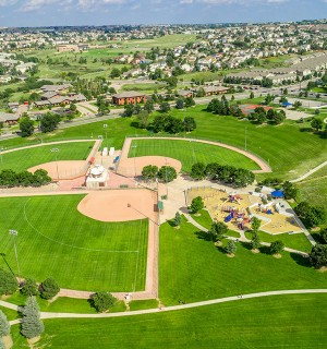 aerial view of cottonwood creek park baseball diamond