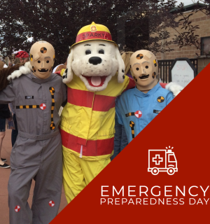 "photo of crash test dummies posing with fire dog (people in costume). Text says ""emergency preparedness day."""