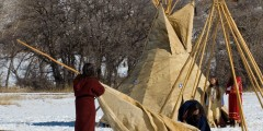 Photo of Tepees being set up