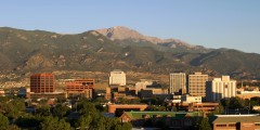 Downtown Colorado Springs with Pikes Peak in background