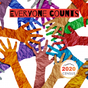 multi-colored paper hands. Everyone counts. Pikes Peak Area Complete Count Committee logo