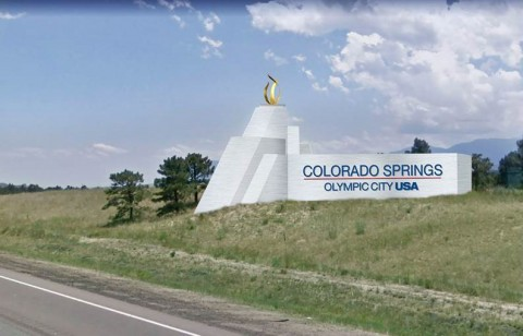 Rendering of the I-25 Olympic City USA Gateway Sign