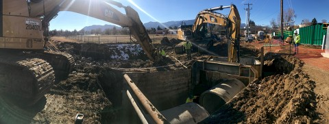 Installation of the sanitary sewer drainage system on Pikes Peak Avenue.