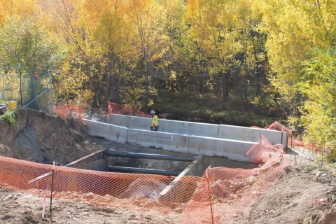 storm sewer under construction