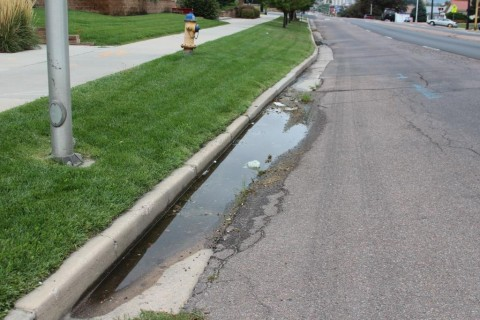 water pooling near curb showing poor drainage