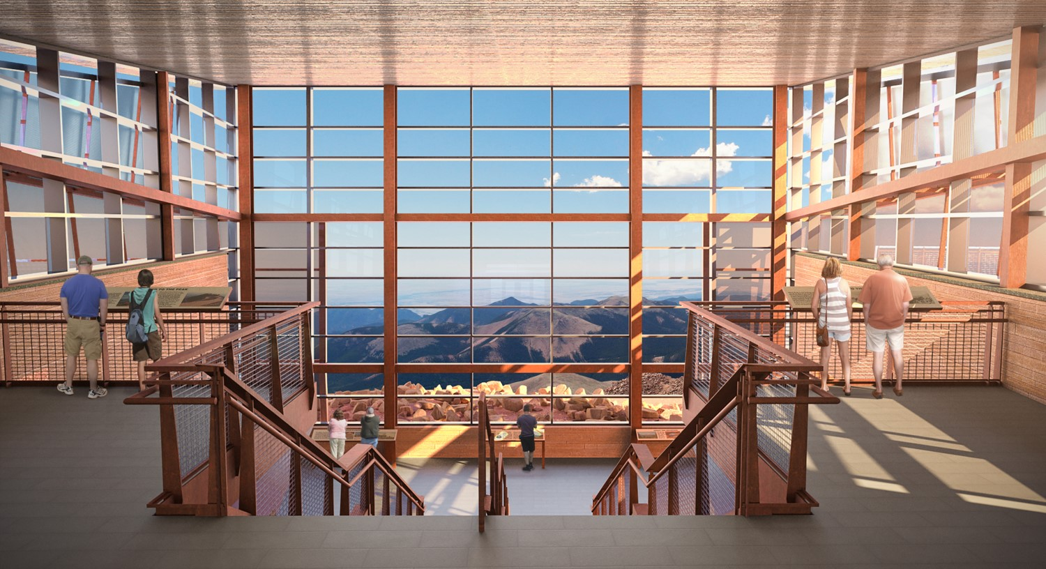 rendering of Pikes Peak Summit House Upper Lobby View to Mt. Rosa
